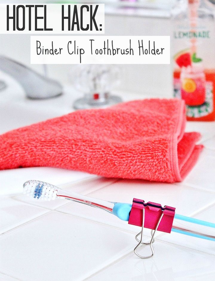 Use a binder clip as a stand to keep your toothbrush off yucky surfaces while traveling! #99YourSummer with these simple Summer Vacation Hacks that'll save you dollars and headaches! #DoingThe99