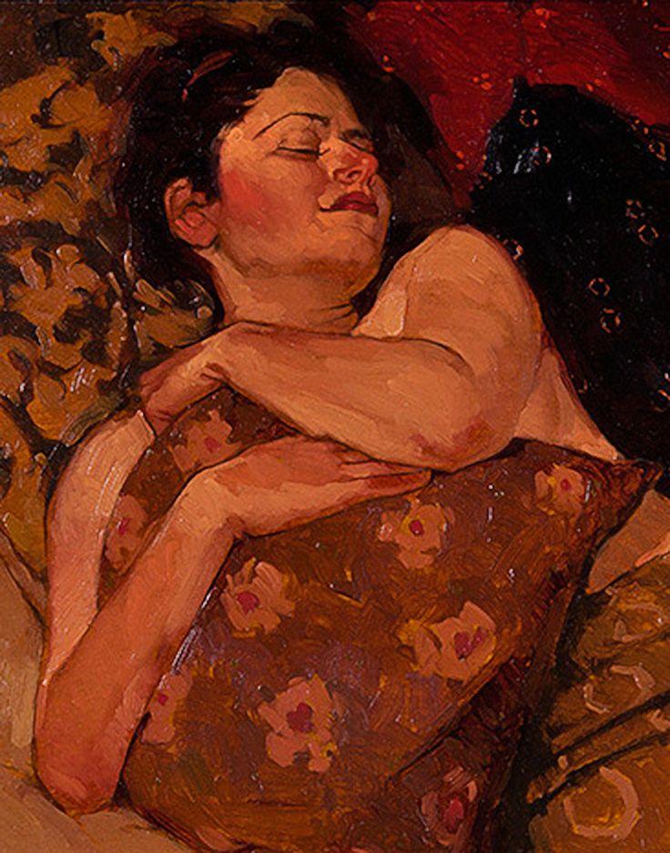 """Pink Pillow"" - Joseph Lorusso (b. 1966), oil on panel {figurative #impressionist art female lying down orange woman painting} josephlorussofineart.com"