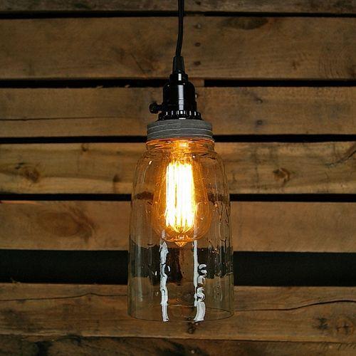 Pendant Lamp, Rustic Half Gallon Open Bottom Mason Jar, Vintage Details