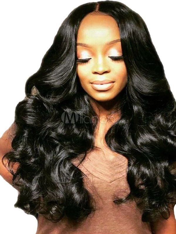 Perruque Lace Frontal Synthetique Longue Perruque Synthetique Noire Perruque Perruque Lace Frontale Coiffure Bouclee