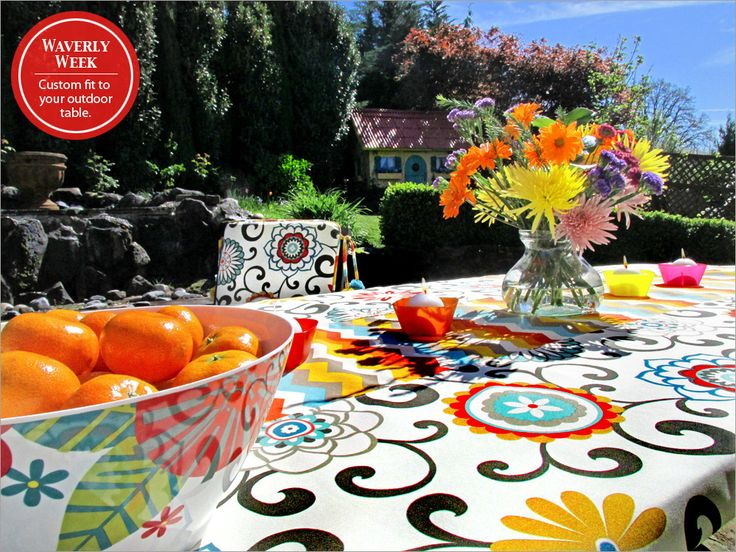 Outdoor Tablecloth With Weighted Corners It S Waverly Week Sew4home