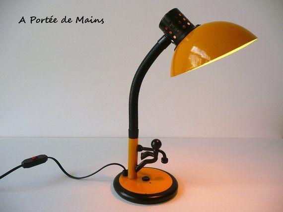 Lampe Aluminor Jaune Lampe A Poser Lampe D Appoint Lampe De Table Lampe De Bureau Luminaire Lampe En Metal Flexible Vintage Lamp Desk Lamp Table Lamp