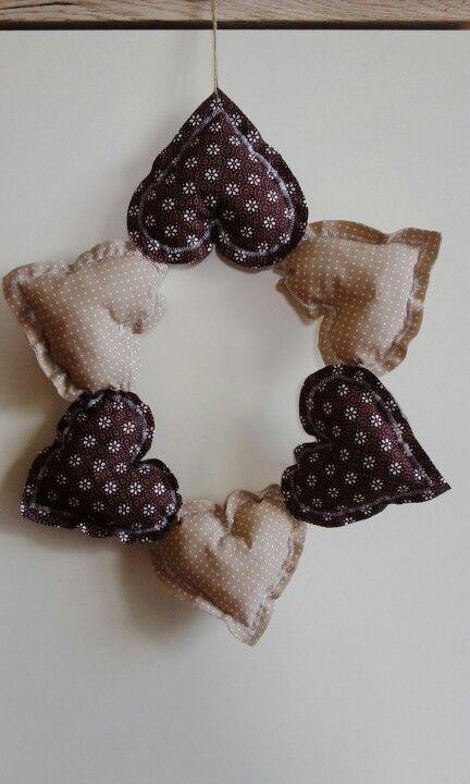 Věnec ze šitých srdíček / wreath - sewing hearts