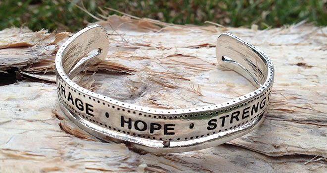 Majique Jewellery - Courage Hope Strength Cuff. Find it at www.giftedmemoriesjewellery.com.au