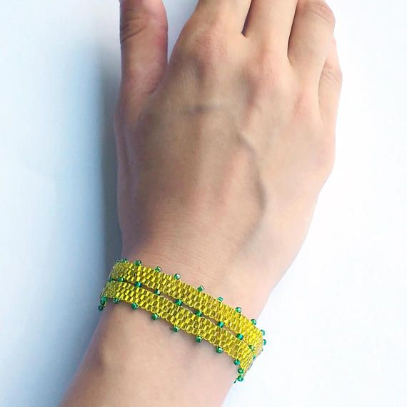 Yellow and Green Beaded Bracelet, Peyote Beading, Gift For Her, Costume Jewelry, Fall Gift, Autumn Gift, Golden Metallic Tube Seed Beads