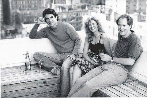 John Travolta, Nancy Allen and John Lithgow on the set of Brian de Palma's Blow Out