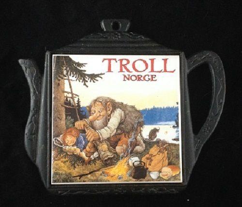 Cast Iron Troll Norge Trivet Coffee Pot Shape