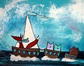 Kids Wall Art Three Sailboats 20 x 16 Original Acrylic Painting Nursery Decor Woodland Art Fox Owls Hedgehog