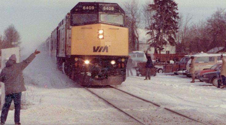 "VIA Rail 6409 at Stittsville Main Street. The last ""Canadian"" to depart Ottawa. January 14, 1990."
