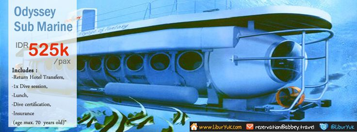 Penasaran melihat keindahan kehidupan biota bawah laut?Yuk booking paket #Odyssey Sub Marine sekarang juga,Anda akan diajak melihat taman laut dan ikan yang berwarna warni di perairan laut Bali.  Dapatkan Special Paket tersebut dari #LiburYuk.com di http://liburyuk.com/bookitem/113/2013-09-04  #HOliday #Jalan2 #Sea #Beach #AbbeyTravel