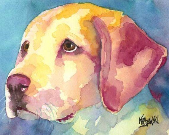Labrador Retriever impresión del arte de la Acuarela Original - Labrador amarillo 11 x 14    Acerca de la impresión:    Esta impresión de arte