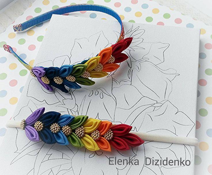 Радужный заказ Ободочек и повязочка для сестричек Творила разноцветную красоту с большим удовольствием