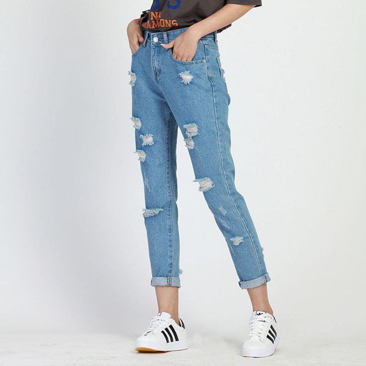 Primavera outono Mulheres buraco de jeans boyfriend jeans Moda para mulher tamanho Solta calças jeans buraco calça jeans de cintura alta do vintage femme em Calças de brim de Das mulheres Roupas & Acessórios no AliExpress.com | Alibaba Group