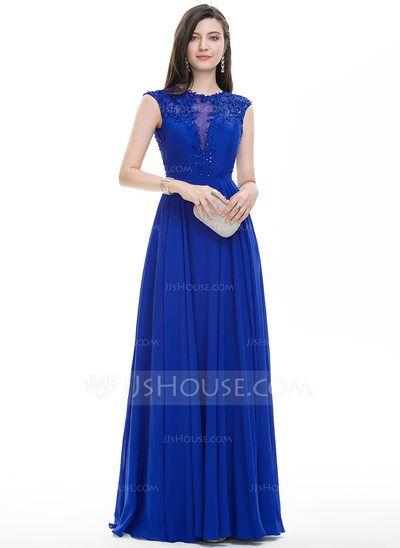 [€ 139.91] A-Linie/Princess-Linie U-Ausschnitt Bodenlang Chiffon Abendkleid mit Perlstickerei Pailletten (017113543)