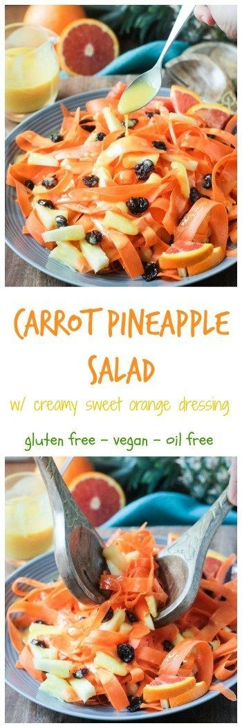 Carrot Pineapple Salad w/ Creamy Sweet Orange Dressing - a quick and easy salad or side dish for Easter or any spring lunch or dinner. A grown up version of the jello salad with shredded carrots and crushed pineapple that my grandmother used to make when I was young. Nostalgia in a healthy, clean eating way! Adult and kid approved. #vegan #glutenfree #dairyfree #cleaneating #Easter #spring #salad #healthy #recipe