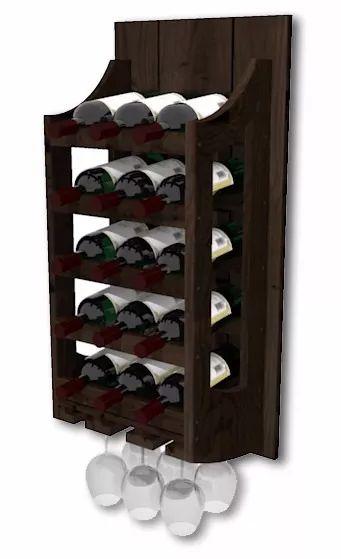 adega de parede de madeira para vinhos 15 garrafas e 6 taças