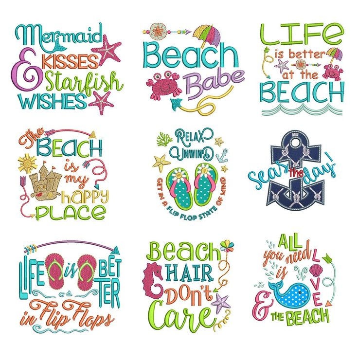 Beach sayings embroider misc filled design pinterest