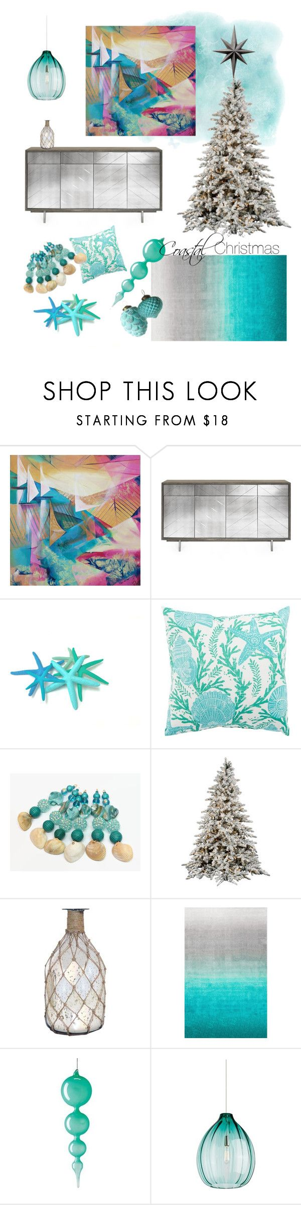 Christmas at the Beach House by kacix on Polyvore featuring interior, interiors, interior design, home, home decor, interior decorating, Tech Lighting, nuLOOM, Jaipur and Jim Marvin