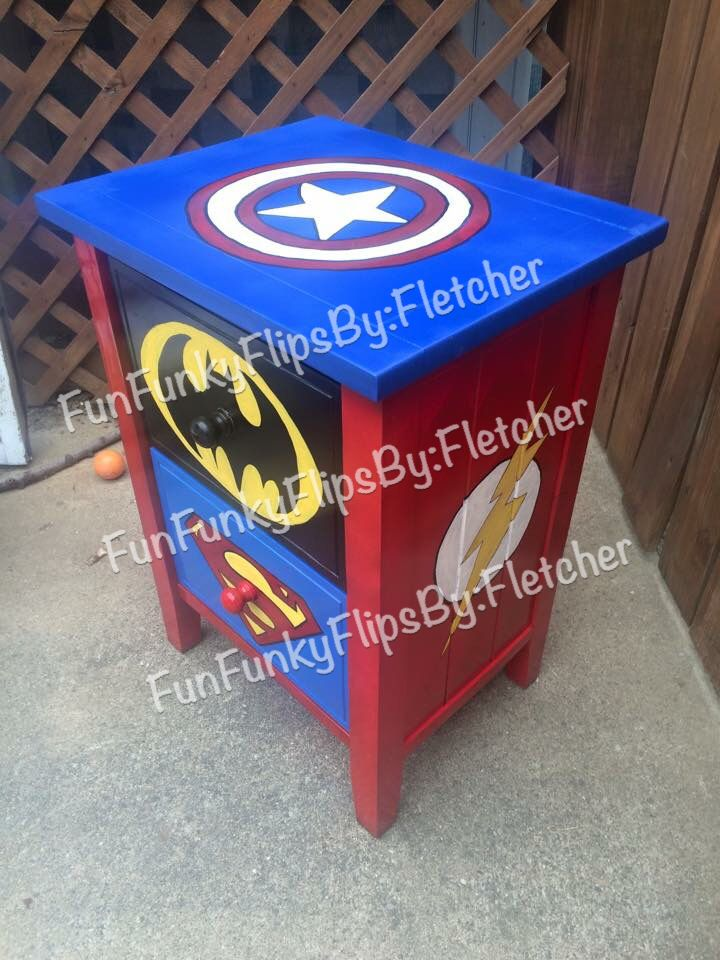 Hand painted super hero side table by Brandy fletcher at Fun Funky Flips…
