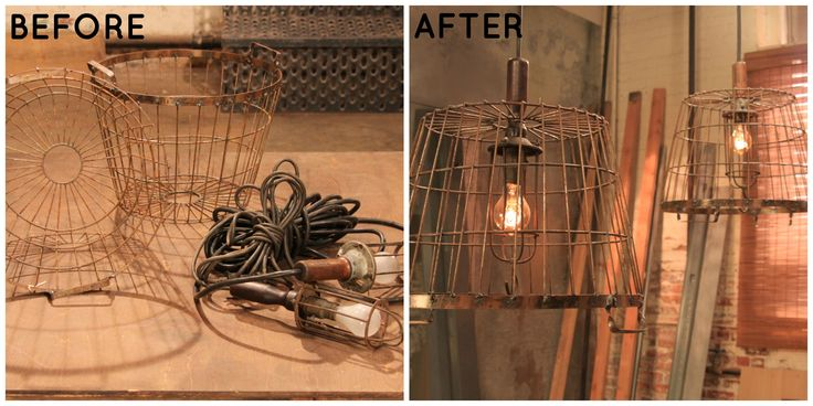 Industrial wire baskets become chic pendant lights. See more Flea Market Flip tips> http://www.greatamericancountry.com/shows/flea-market-flip/lara-spencers-quick-flea-market-flip-tips-pictures?soc=pinterest