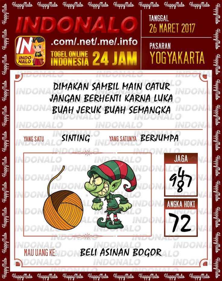 Kode Wangsit 6D Togel Wap Online Indonalo Yogyakarta 26 Maret 2017