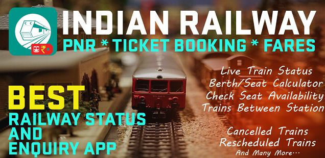Best app to IRCTC Ticket Booking, check pnr status and seat availability between stations. Indian Railway Enquiry helps to get Indian train status and Indian railway information by just entering some information.