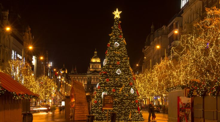 The Christmas atmosphere on Vaclavske namesti in Prague, The Czech Republic, Europe.