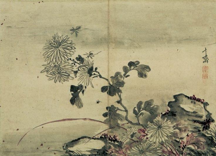 (Korea) Chrythethum by Hyeonjae Shim Sa-jeong (1707- 1769). color on paper.