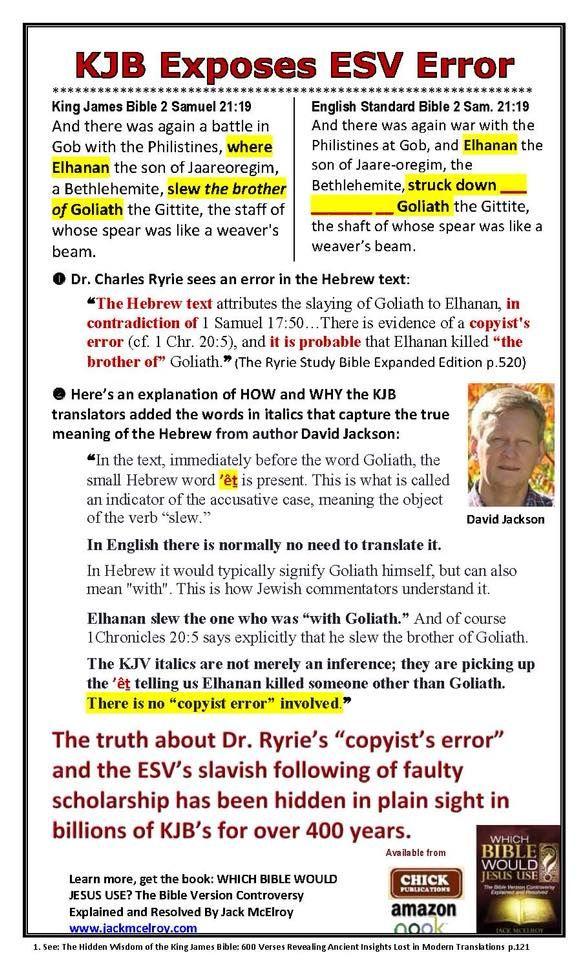 Kjb Exposes Esv Error Bible Versions King James Bible King James Version