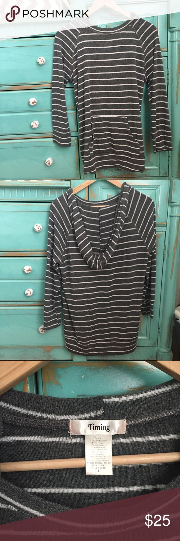 Striped Hoodie Light weight gray and white striped hoody. Scoop cut neckline. Quarter length sleeves. Extra long. Front pocket. Good condition. No flaws. Sweaters