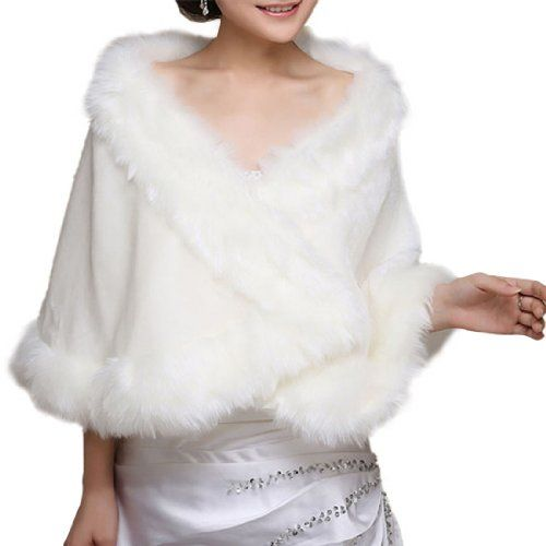 DAPENE Widened and Enlarged Plush White Wedding Dress Shawl Fur shawls Price:	$16.99