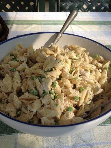 Tuna Macaroni Salad With Shell Pasta, Frozen Peas, Chunk White Tuna, Mayonnaise, Dijon Mustard, Onions, Salt, Pepper
