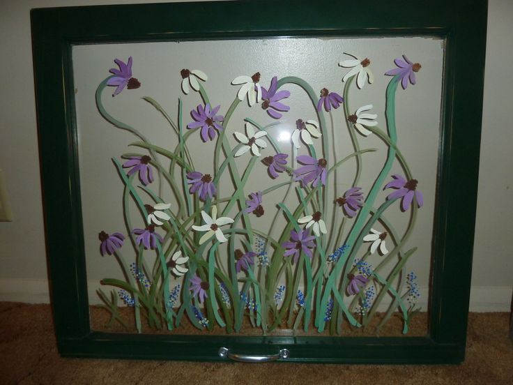 Old Window Crafts | White & Purple Coneflowers in Old Painted Window, Green Frame