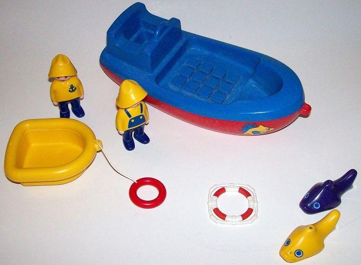 Playmobil 123 Boat 6714 Fishing People Preschool Fishermen Fish Geobra 1995 #PLAYMOBIL