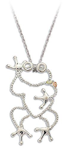 Landstroms Nature Frog Pendant Necklace with Black Hills 12k Gold Accents. Made of Sterling Silver. Authentic Landstroms Black Hills Gold Jewelry. Comes in a Beautiful White Leatherette Box. Manufacturers Lifetime Warranty. Made in South Dakota, USA.