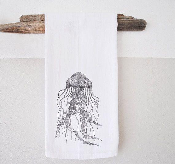 Jellyfish print  Hand Printed dish cloth  dish by saltyandsandy