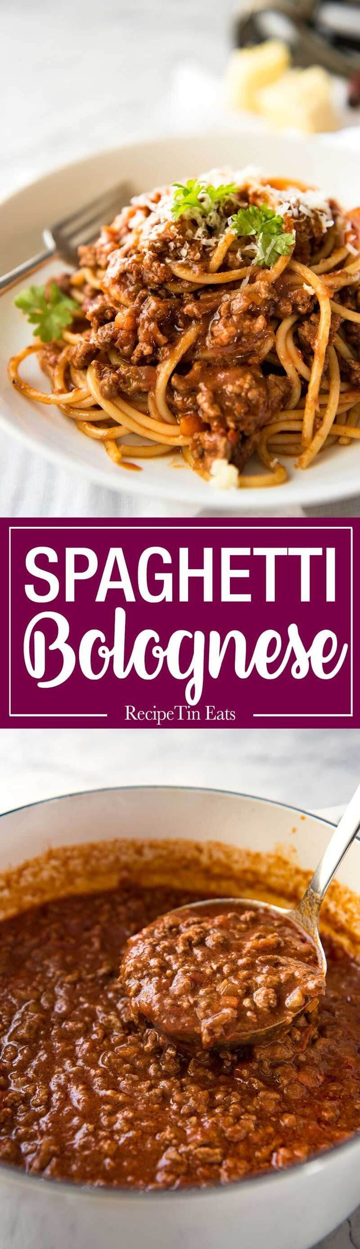 Spaghetti Bolognese - Thick, rich tomato sauce with gorgeous depth of flavour, on the table in 30 minutes!