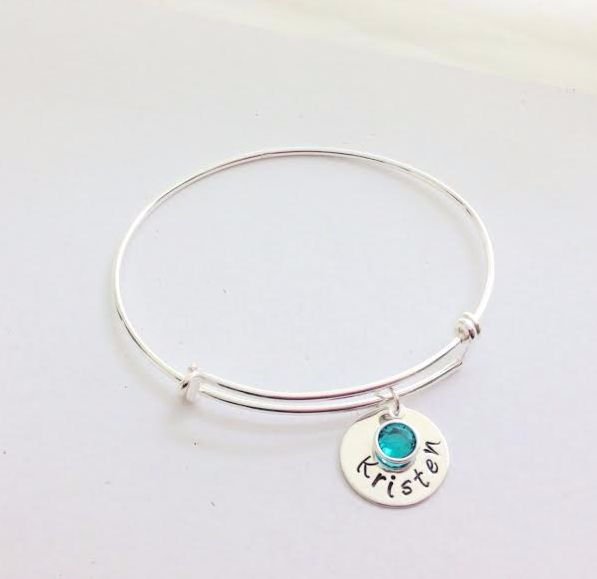 Sterling Silver Adjustable Bangle with personalised sterling silver discs and swarovski crystal birthstone.  Also avialable in gold and rose gold. Order yours today at www.lovencherish.com