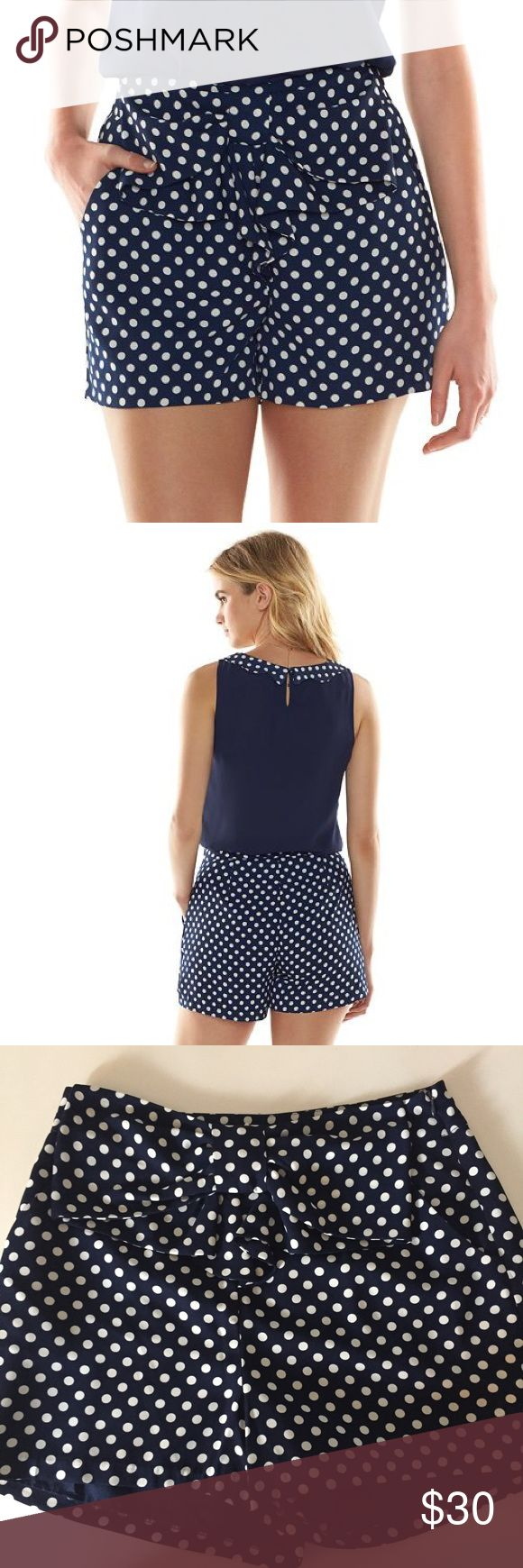 NEW! Polka-Dot Lauren Conrad for Disney Shorts NWT, navy shorts with white polka-dots from the Lauren Conrad for Disney collection. These high-rise shorts feature a cute bow, pockets and a side zipper closure. Perfect for a trip to Disneyland, Disney On Ice or just a day of Disney Bounding. LC Lauren Conrad Shorts
