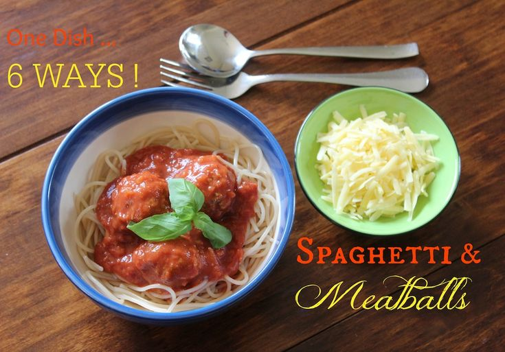 Spaghetti and Meatballs … 1 Dish … 6 Ways … such an easy and delicious recipe to make but also incredibly versatile. Visit www.mrsorganised for this recipe and many others as well!
