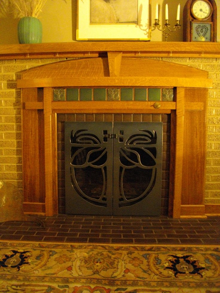 250 best arts crafts fireplaces i love images on pinterest for Arts and crafts fireplace tile
