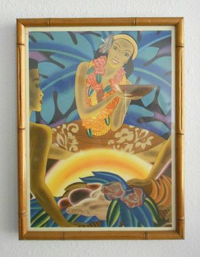 $175 - 1930-1940s Original McIntosh Hawaiian Print 'The Luau' . . . Vintage original bamboo framed Frank McIntosh menu print for Matson's Luxury Liners, featuring a vibrant luau scene served by a beautiful wahine and set against glowing tropical foliage!