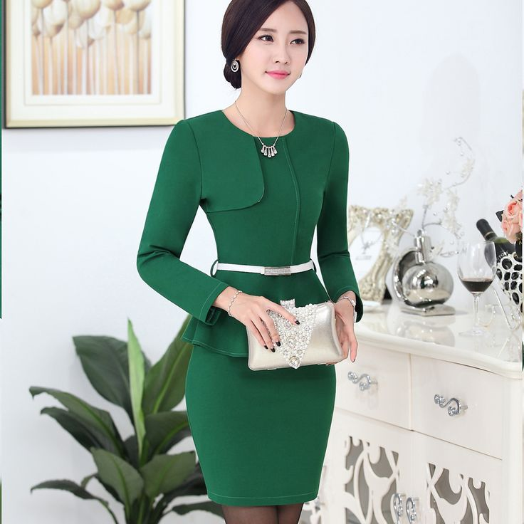 New arrival women business suits Autumn 2015 Fashion temperament solid long-sleeve Blazers+Skirt suits formal work wear sets