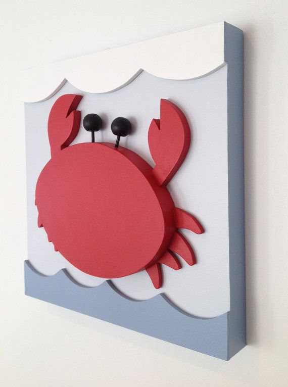 Crab Nautical Kids Room Decor Nautical Nursery Wall by EleosStudio