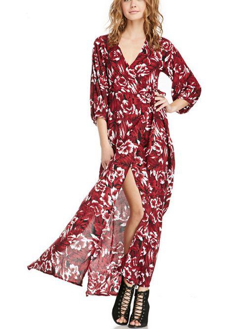 V neck three quarter sleeve floral long maxi dress HY-142518869