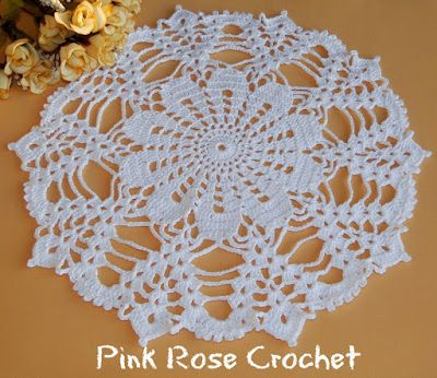 PINK ROSE CROCHET: Moon-Beams Flor Branca White Lace Doily