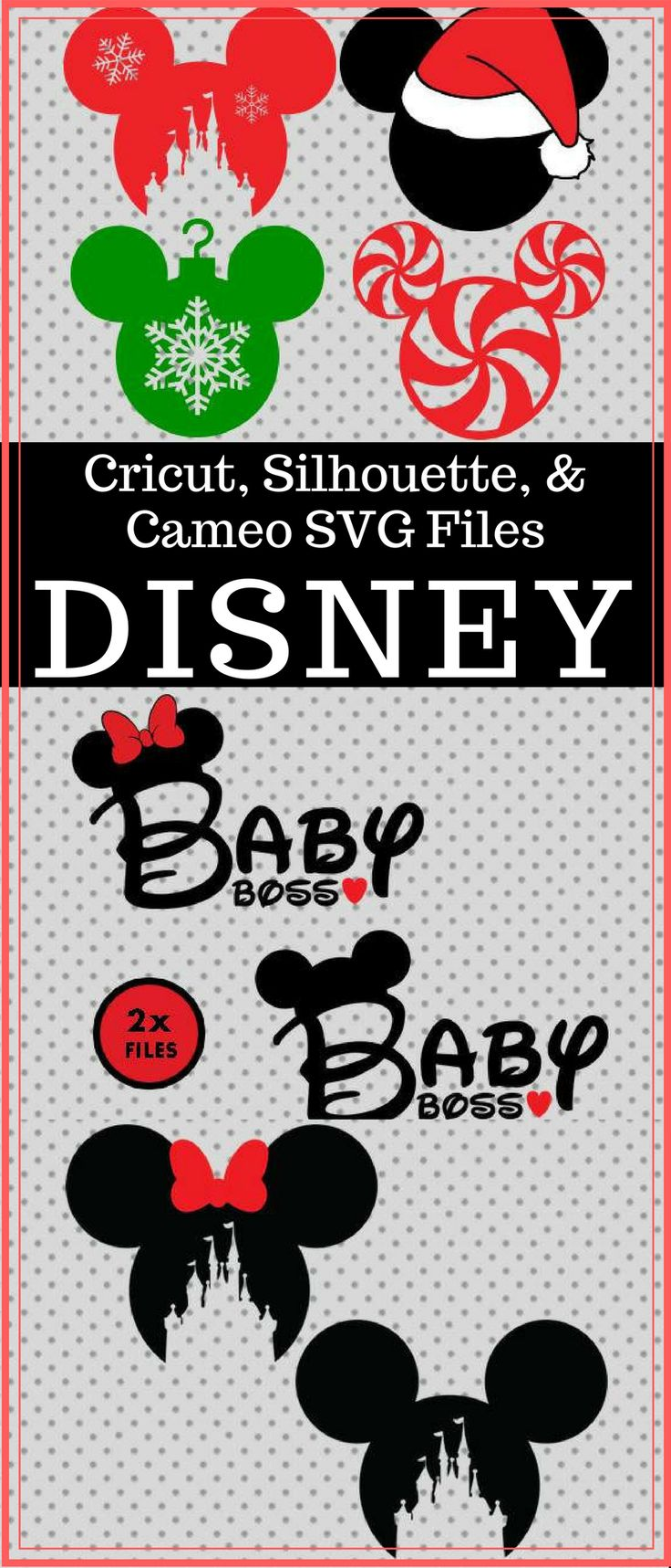 This is a must have for the Disney lover. Use files on Silhouette Cameo and Cricut Design Studio but you can use them on any machine.#mickeymouse #christmas #crafts #shopping #oybpinners #commissionlink