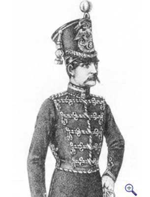 Штаб-офицер гусарского полка русской армии с галуном на воротнике, 1852-1855 годы.