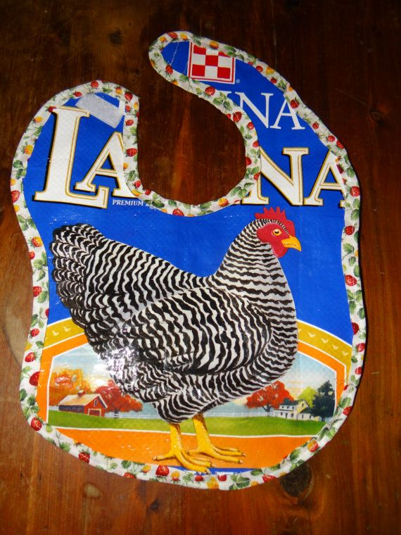 Upcycled Chicken Feed Baby Bib by SewBellissimo on Etsy, $10.00