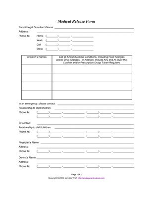... 9 Best Forms Images On Pinterest Ministry Ideas, Photography    Photography Consent Form ...  Printable Medical Release Form For Children